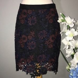 TOPSHOP lace pencil skirt Sz 10 tall party mini